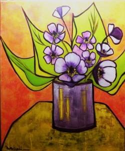 Bouquet violet: 38x46 cm dans Acrylique fleurs-violettes-38x46-250x300