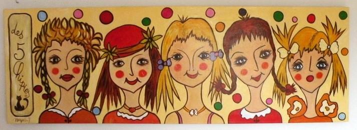 Fresque: Les 5 chipies Acrylique 50x150 cm dans Acrylique 2013 fresque-les-5-chipies-50x150cm2