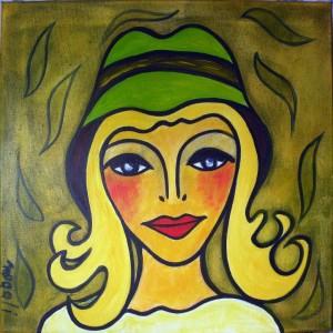 Le chapeau vert 40x40cm dans Acrylique 2013 1-portrait-40x40cm-300x300